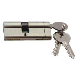 Nickel Plated 60mm Euro Cylinder Lock / Euro Profile Cylinder Lock With Three Keys